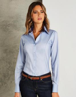 Damen Contrast Premium Oxford Bluse Langarm