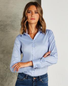 Damen Tailored Fit Stretch Oxford Bluse Langarm
